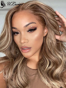 LUVME HAIR HIGHLIGHT COLOR WAVY HAIR 360 LACE WIG WITH BLEACHED KNOTS ULWIGS FOR BLACK WOMEN