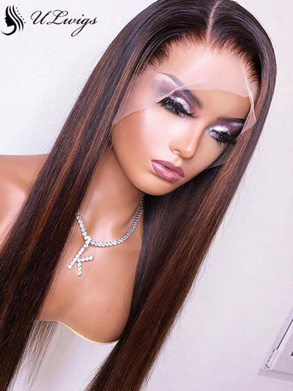 Highlight HD Lace Straight Plucked 360 Lace Human Hair Wigs For Black Women ULWIGS108 - ULwigs