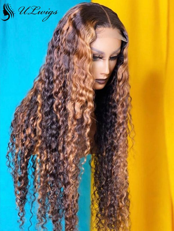 Highlight Brown Color Curly Bleached Virgin Hair 13*6 Lace Front Wig ULWIGS105 - ULwigs