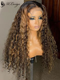 "Highlight Color Curly 4"" Parting 360 Lace Frontal Wig With Bleached Knots [ULWIGS19] - ULwigs"