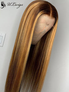 Highlight Color Straight Luxury Long Hair 360 Lace Wig With Single Knots [ULWIGS40] - ULwigs
