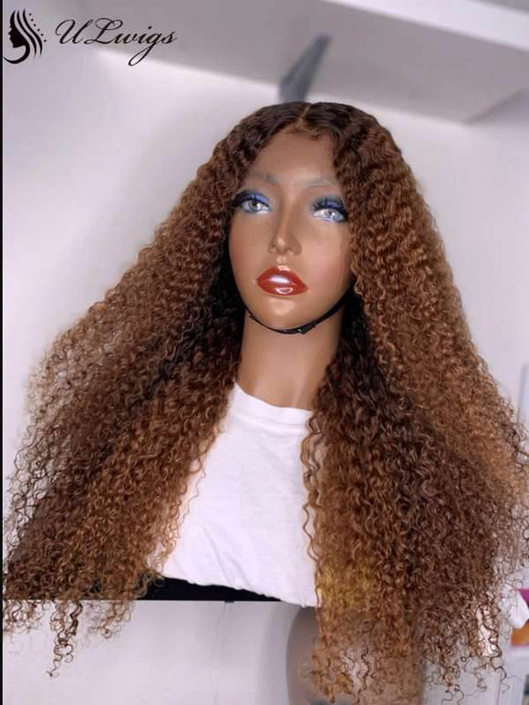 HD Lace Kinky Curly Ombre Brown Color 180% Density 360 Lace Wig [ULWIGS37] - ULwigs