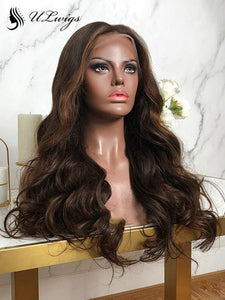 Light Brown Highlights Big Wavy Human Hair 360 Lace Wigs With Bleached Knots ULWIGS126