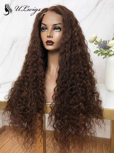 Long #4 Color Curly Bleached 360 Lace Frontal Human Hair Wigs With HD Lace ULWIGS127