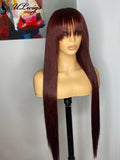 Long Silky Straight 99j Color 360 Wig With Bangs ULWIGS90 - ULwigs