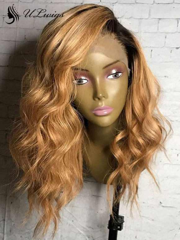 Meagan Ombre Color Short Wavy Hair Lace Front Wig With Bleached Knots ULWIGS luxy HAIR 100% HUMAN HAIR WIG FOR BLACK WOMEN