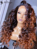 Ombre Brown Color Loose Wave Lace Frontal Human Hair Wig With Fake Scalp ULWIGS106 - ULwigs