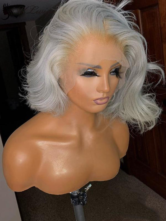 Short Bob Cut Wavy Wig Light Grey Color Lace Front Wig [ULWIGS69] - ULwigs