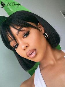 Short Cut Bob Wig With Bangs 13*4 Lace Front Wig [ULWIGS03] - ULwigs