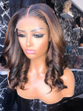 LUVME HAIR HIGHLIGHT WAVY PREPLUCKED LACE FRONT WIG WITH BLEACHED KNOTS ULWIGS