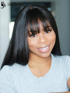 Thick 13*4 Long Straight Lace Front Human Hair Wig With Bangs [ULWIGS04] - ULwigs