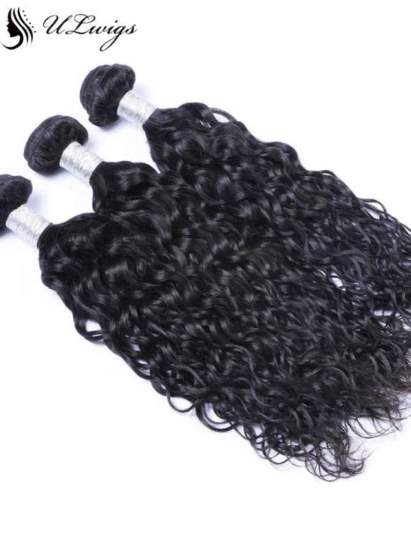ULWIGS 3 BundlesPack Huamn Virgin Hair Weave Ocean Wave Natural Black Color