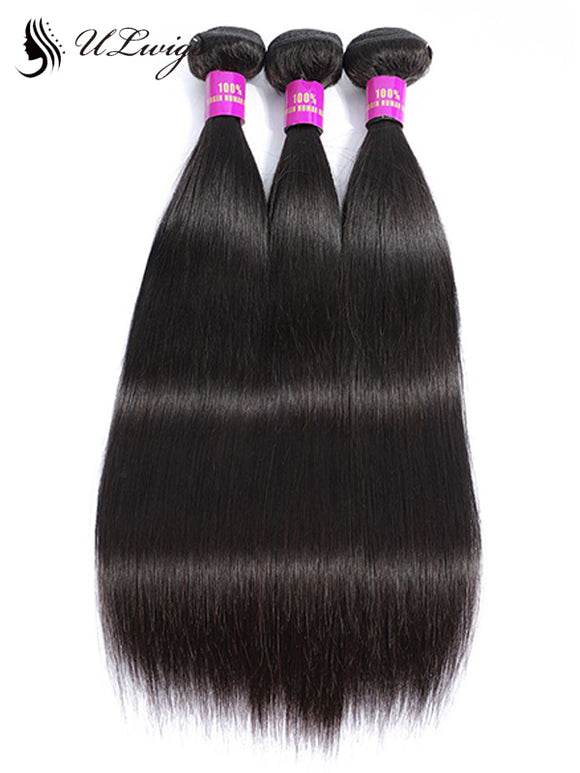 ULWIGS 3 Bundles/Pack Virgin Human Hair Extensions Straight Natural Black Color