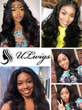 ULWIGS Lace Closure 4X4 With 3 Bundles Body Wave Human Virgin Hair Natural Black Color