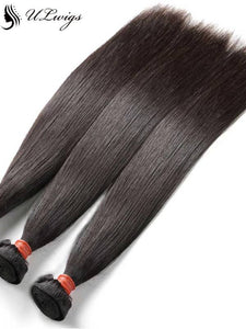 ULWIGS Pre-Plucked Ear To Ear Lace Frontal With 3 Thick Bundles Straight Virgin Hair Weaves