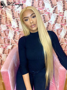 Virgin Human Hair #27 Color Straight Pre Plucked Lace Front Wig ULWIGS93 - ULwigs
