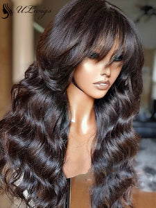 Long Wavy Virgin Human Hair Plucked 360 Lace Frontal Wig With Bangs ULWIGS144