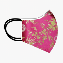 Load image into Gallery viewer, Premium Stitch Fuchsia with Gold Silk Mask