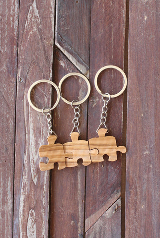 Three Friends Puzzle Piece Keychains