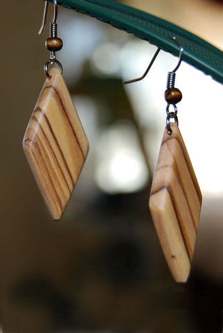 Olive Wood Diamond Earrings