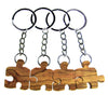 Four Friends Puzzle Piece Olive Wood Keychains