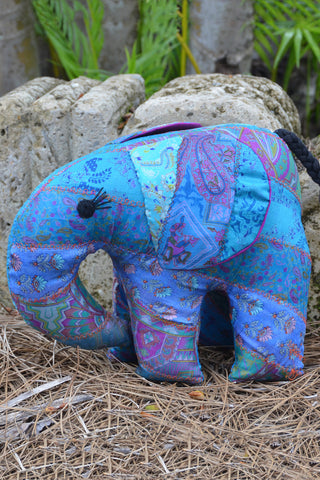 Teal Silk Patchwork Jumbo Elephant