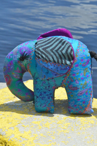 Teal Silk Patchwork Medium Elephant