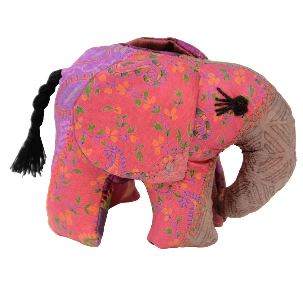 Pink Silk Patchwork Small Elephant From The Earth