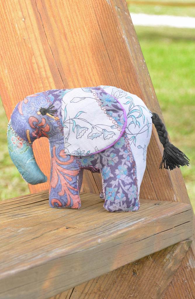 Grey Silk Patchwork Large Elephant