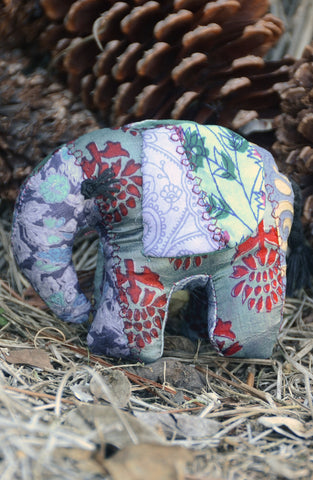 Grey Silk Patchwork Small Elephant