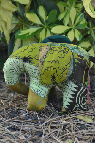 Green Silk Patchwork Medium Elephant