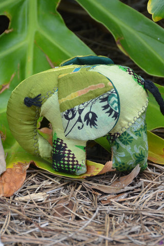 Green Silk Patchwork Small Elephant