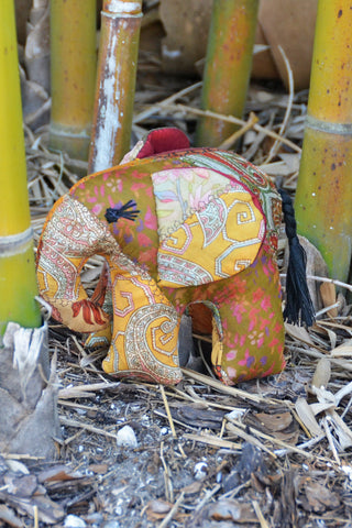 Gold Silk Patchwork Medium Elephant