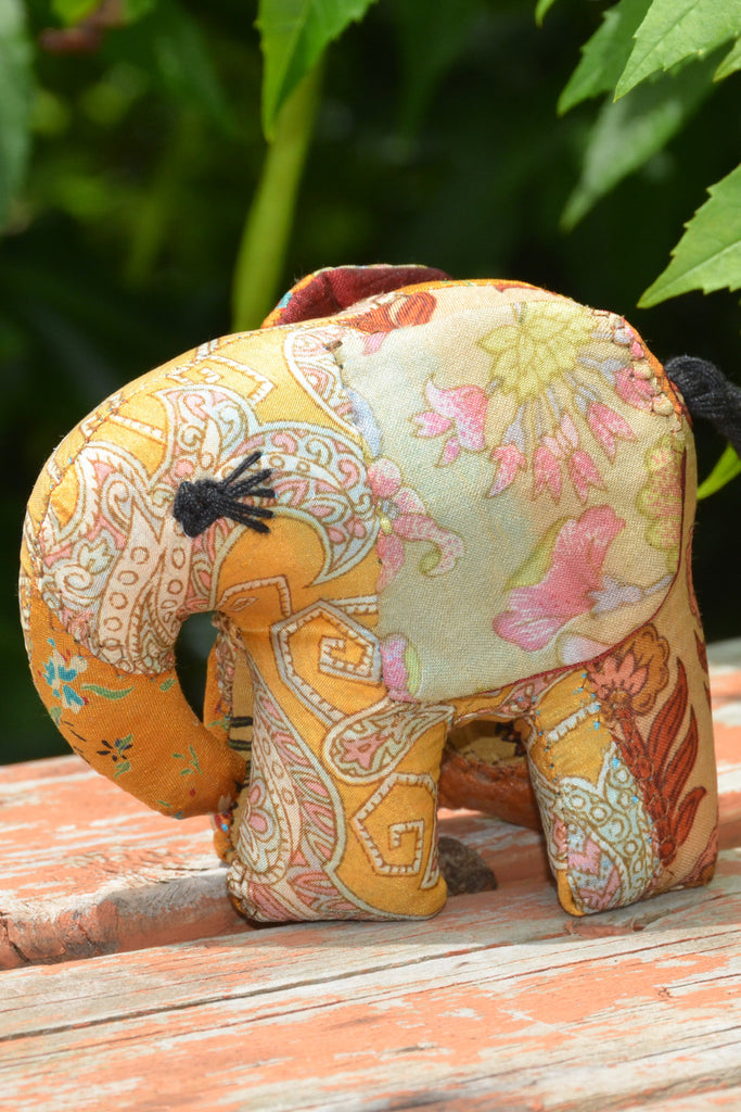 Gold Silk Patchwork Small Elephant