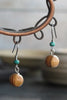 Small Round Olive Wood Bead Earrings