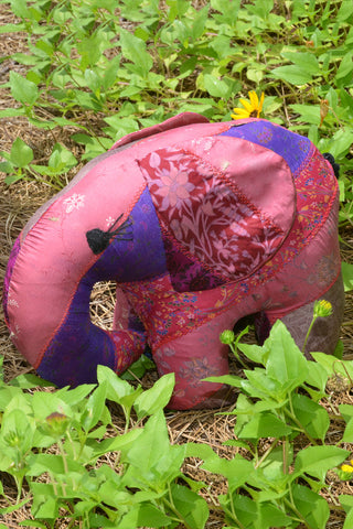 Purple Silk Patchwork Jumbo Elephant