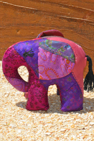 Purple Silk Patchwork Medium Elephant
