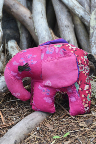 Pink Silk Patchwork Small Elephant