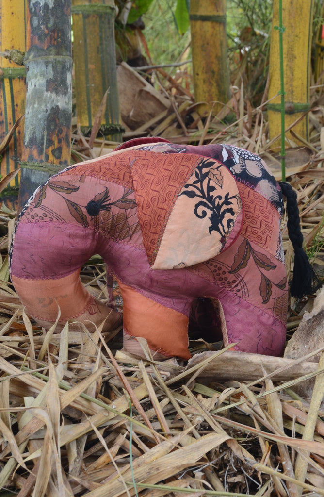 Red Silk Patchwork Jumbo Elephant