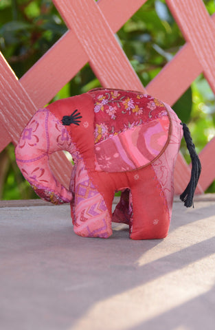 Red Silk Patchwork Medium Elephant