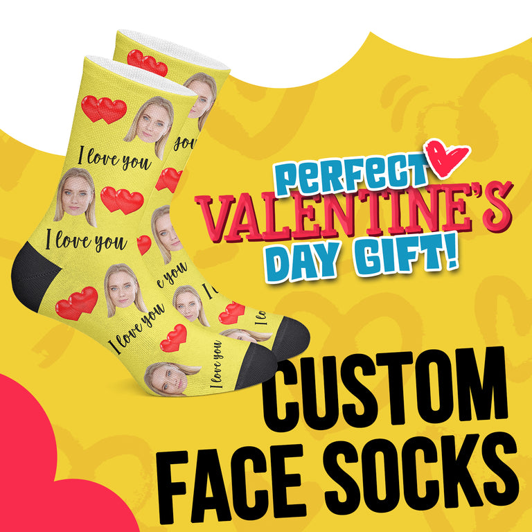 Custom Face I Love You Socks