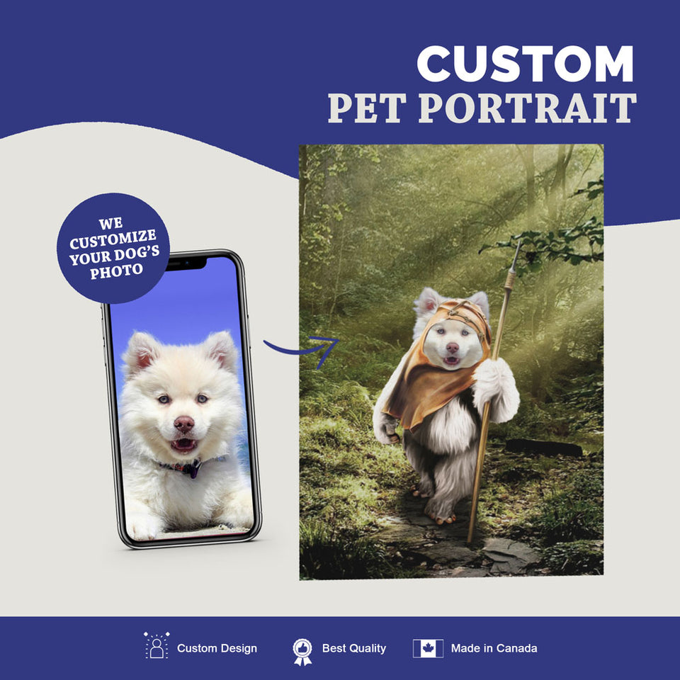 Custom Pet Portrait Canvas - Ewok Dog