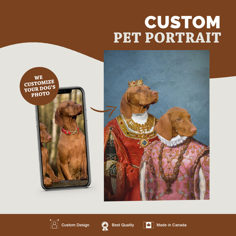 Custom Pet Portrait Canvas - King And Queen