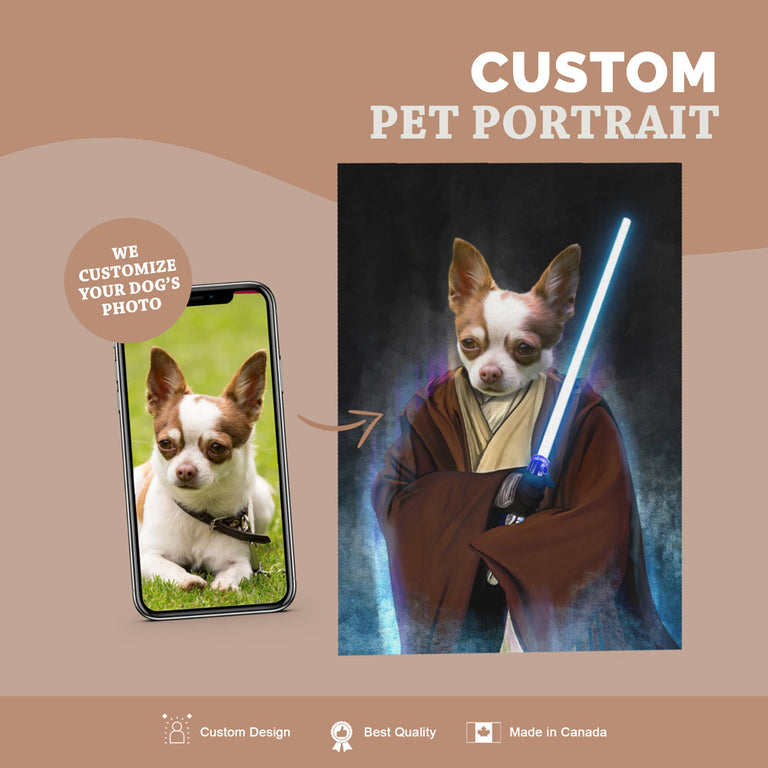 Custom Pet Portrait Canvas - Jedi Dog