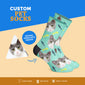 Custom Cat Sock with Fish & Bone Print