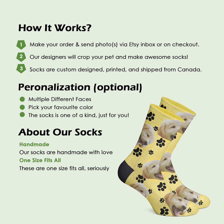 Custom Dog Socks with Paws Print
