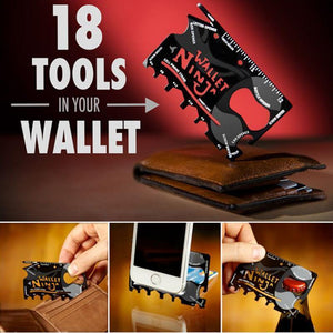 ONLY $4.99!!! Wallet Ninja 18 in 1 Multi-purpose Credit Card Size Pocket Tool