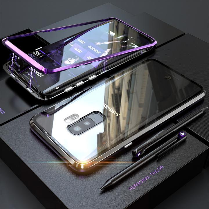 2019 Magnetic Adsorption Transparent Tempered Phone Case For SAMSUNG