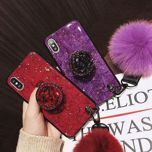 2019 SAMSUNG New hair ball Crystal airbag bracket Phone case