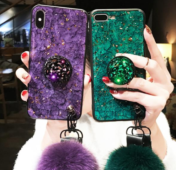 2019 IPHONE hair ball Crystal airbag bracket Phone case